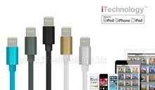 MFI Certificate braided usb cable Aluminum Nylon data Cable 8 pin charging cable for iphone6 5 5s 6 plus/ipad air/ipod