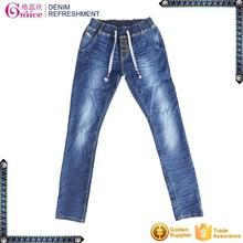 Elastic waist band design high waist skinny jeans pants for women
