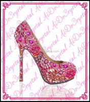 Aidocrystal Luxury red classic crystal sexy stiletto high heel shoes,red glitter bridal wedding high heels