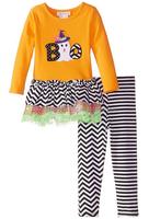 Girl - Cute Halloween Ghost suit Chevron lace and Chevron pants Glitter mesh tutu skirt halloween boutique clothing 2 piece set