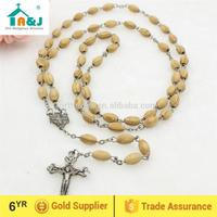 Passed CPSIA lead content christian wood rosary necklace promotion gift