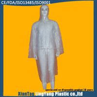 China's Alibaba White Waterproof Disposable Plastic Body Suit