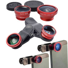 DHL shipping 100 set 3 in 1 Fisheye Lens+Wide Angle+Micro Lens Photo Kit Set Mobile Smart For iPhone 6 5 4 sumsang s6 Nicesky