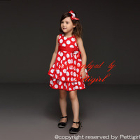 2015 Brand Toddlers Dress White And Red Dot Girl Flower Dress Discounts Summer Costumes For Children 6PCS/LOTGD21008-12