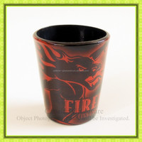 2oz Printed Black Shot Glass for Famous Brand Promotion.Glassware supplies for drinking alcohol.