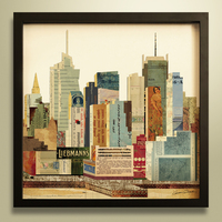 3d picture,wall hanging,city skyline,home decor,oil painting,photo ,gift