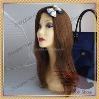 Big layer virgin hair 18inch #10 European human hair kosher wig in stock