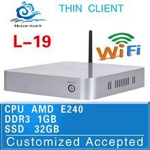Fan Mini PC Single Core Mini PC VGA Mini Pc Linux Hot Sale! L-19 E240 Support Full Screen Movies 1g Ram 32g Ssd