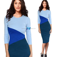 Elegant Ladies Splice Color 3/4 Sleeve Cocktail Party Evening Bodycon Fitted Business Dress
