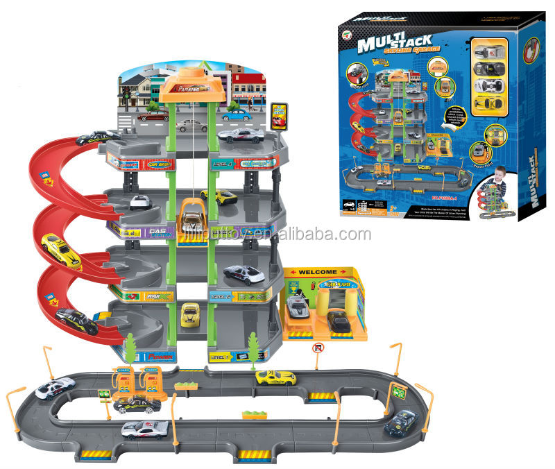 jouets piste skyline parking garage play set avec 4 pcs petite voiture pour enfants autres. Black Bedroom Furniture Sets. Home Design Ideas