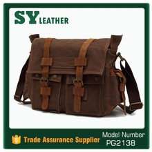 Wholesale bags new fashion genuine leather men bag casual canvas messenger bags