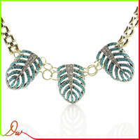 europe style gold plated chain necklace designs with leaves pendant