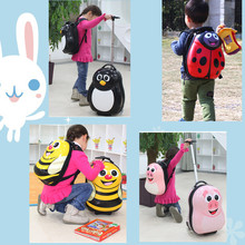 Mejor sistema de viaje animal kids equipaje / mochila 4 ruedas de plástico duro equipaje niños