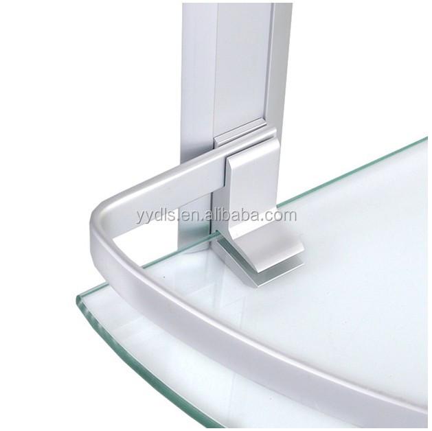 1600 aluminium double salle de bain coin tag res en verre Etagere salle de bain en verre