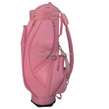 High quality PU golf cart bag with raincover, pink golf bag promotion