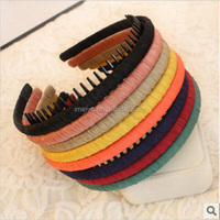 Wholesale Cheap candy color plastic hair band with teeth For Women Girls hair accessories