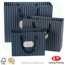 custom creative high quality luxury fresh vertical stripe shopping paper bags gift paper shopping bag with string made in china