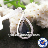 New Arrival Gemstone Cutting 18K Gold Natural Blue Sapphire Stone Pendant