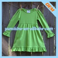 Wholesale Bulk Cheap Price Kids Girl Toddler Long Sleeve Solid Color Blank Cotton Knit Dresses Lovely Baby Girl Ruffle Dress