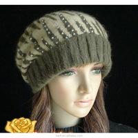 lingshang high quality warm knit hat girls crochet winter beanie women beret hat
