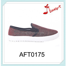 shiny color casual style lady canvas flat shoes cheap canvas shoes