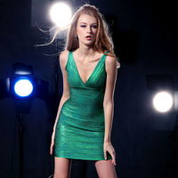 2015 New arrival open front cut out back sexy tube emerald green prom bandage dresses