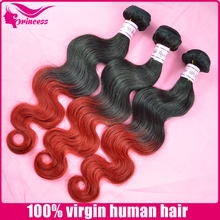 Two tones natural looking beautiful hair styles body wave 1b & red ombre hair weaves