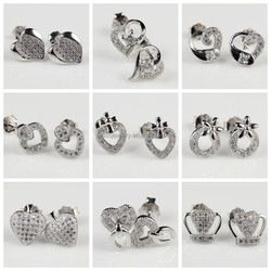 Heart Shape Cz Paved Setting Casting Ladies Earrings Designs Pictures