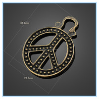 Trending Hot Products Alloy Bronze Charms Retro Hollow Peace Symbol Medical Alert Charms Wholesale