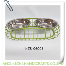KZ8-06005 stainless steel pet bowl with metal stand