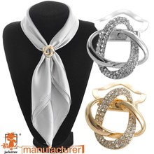Fashion gold-plated alloy brooch wholesale scarf clip rhinestone brooches for women