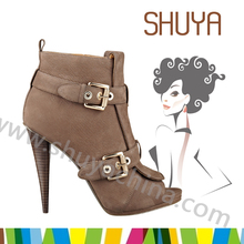 beige two buckles ornament high solid spike heel shoes woman boots 2014