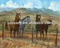 tres caballos comiendo en pastos pintado a mano pintura al óleo