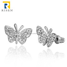 2015 new arrival simple butterfly shape earring zinc alloy plated gold GPE1007-C