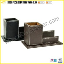 Promotion Fashion Cheap Handmade Custom Leather Business Card Holder And Pen Gift Set