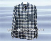 Los hombres de verificación 100% camisa de algodón( s1343)