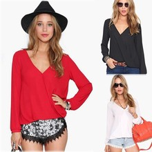 Fashion V-Neck Solid Dressy Chiffon Women Sexy Tops and Blouses SV012082