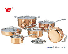 NEW AND LUXURY 12pcs Triply copper cookware set