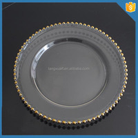 "LXHY-P020 cheap price 13"" gold beaded charger plate glass"