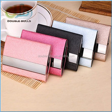 Hot Selling Promotion PU leather double sided business name card case, card holder