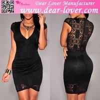 Adult Hot Girls Black Lace Overlay Sexy Photos Mini Dress
