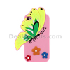Vivid 3D Butterfly & Flower Silicone Cover Shell for iPhone 4s 4