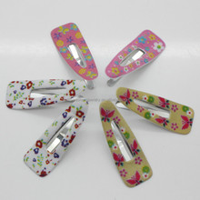 PVC coating decorated Butterfly flower leaves and metal snap hair clips 6/pack colorful hairpins for kids girls women