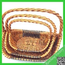 2015 Hot design classical wicker animal basket with handle/ wedding fruit basket decoration