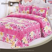 3d reactive printed microfiber red rose pattern bedding set