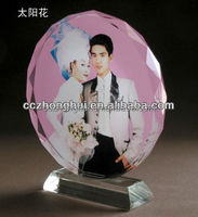 Round plate Crystal Photo Frame