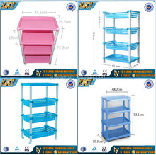 Useful Household plastic 4 layers storage rack/plastic storage holder shelves with wheels