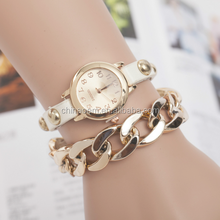 Fashion Dress Women/Lady Watches Retro golden Chain Leather Strap Bracelet Alloy Watch