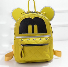 Hot Sale Novelty Style Yellow Studded 3D Micky Mouse Satchel School Backpack Bag For Girls Ladies Women