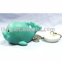 Dolphin bath toy, Vinyl PVC toy with metal chain and stopper
